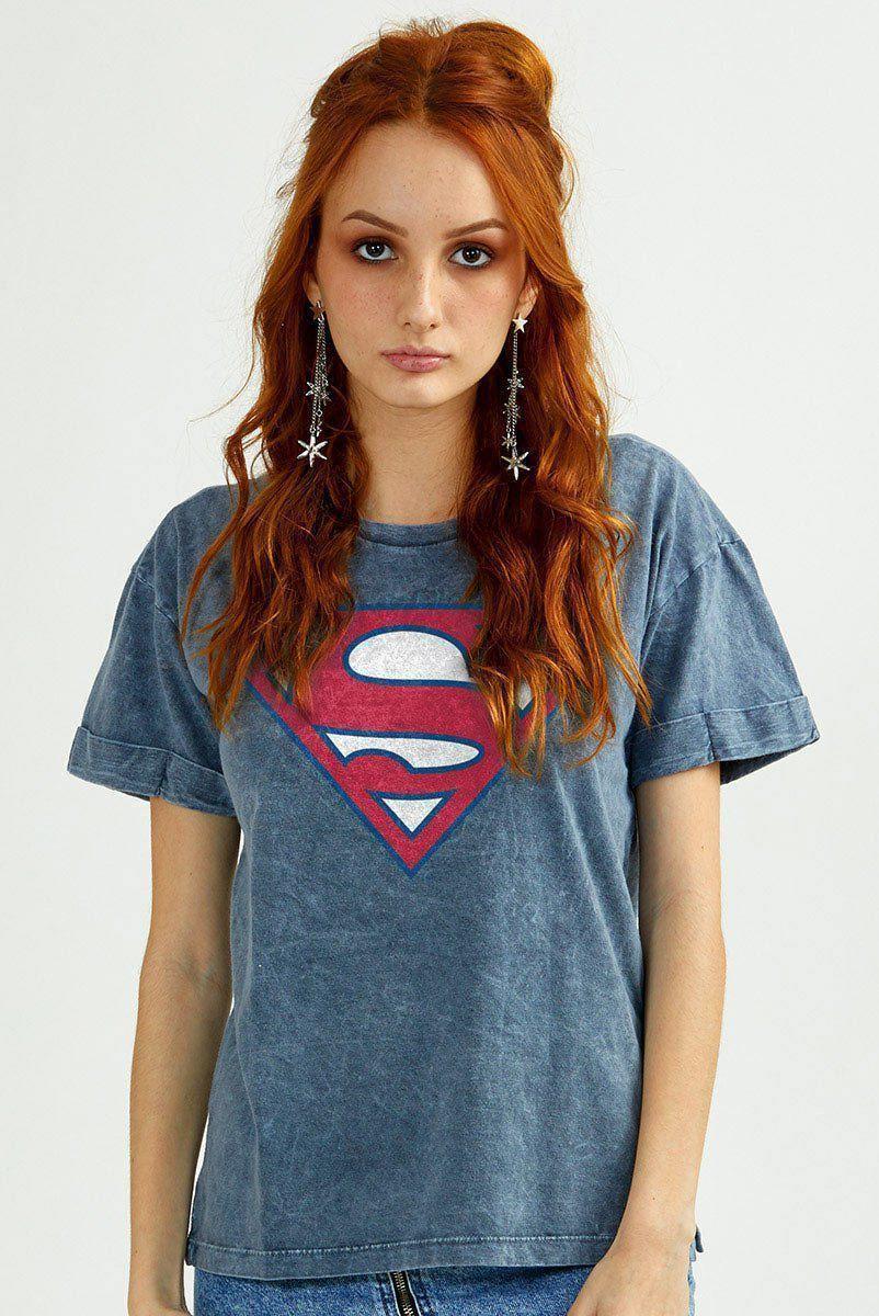 Camiseta Feminina Marmorizada Superman 80 Anos Logo