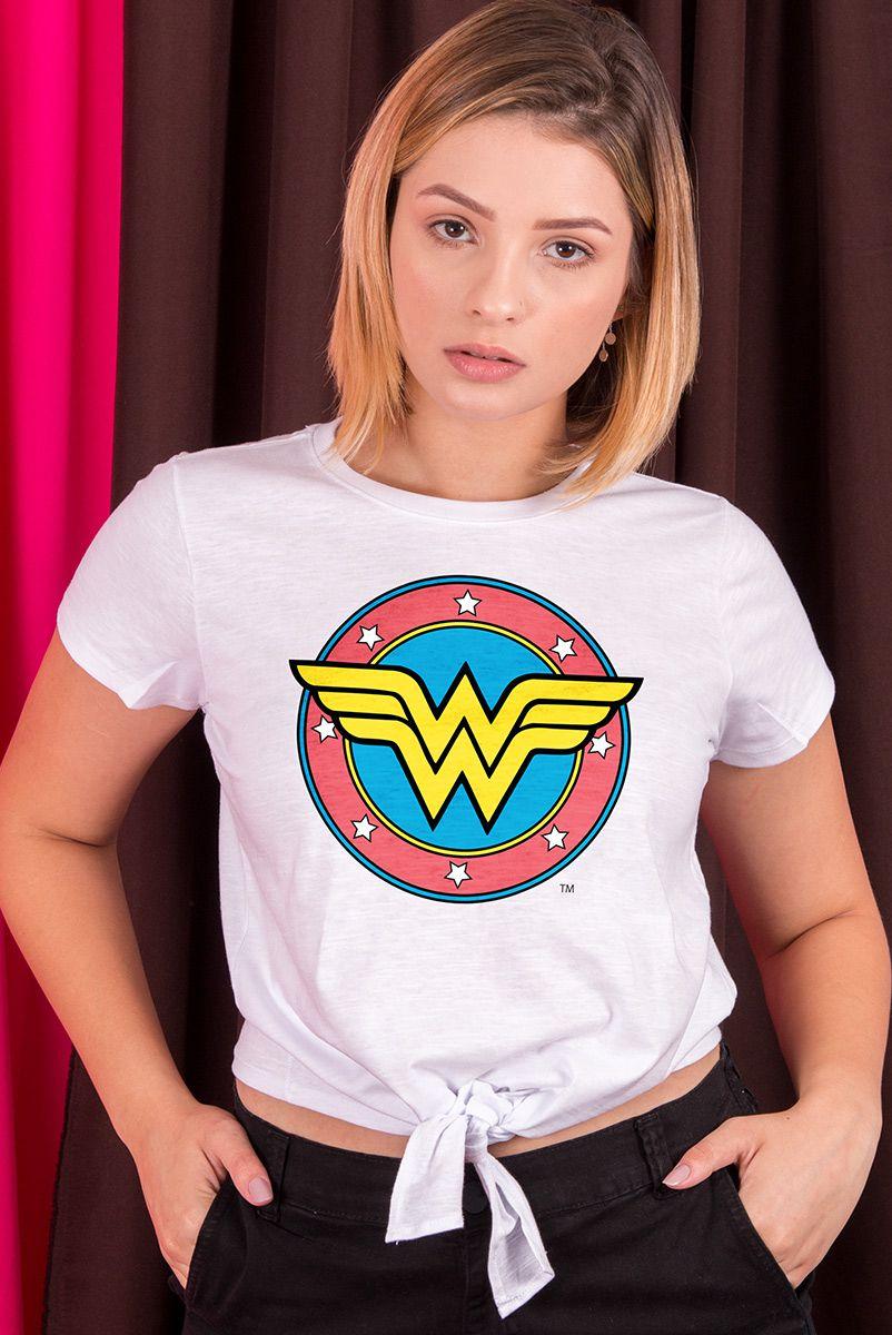 Camiseta Feminina Nozinho Mulher Maravilha Logo Retrô
