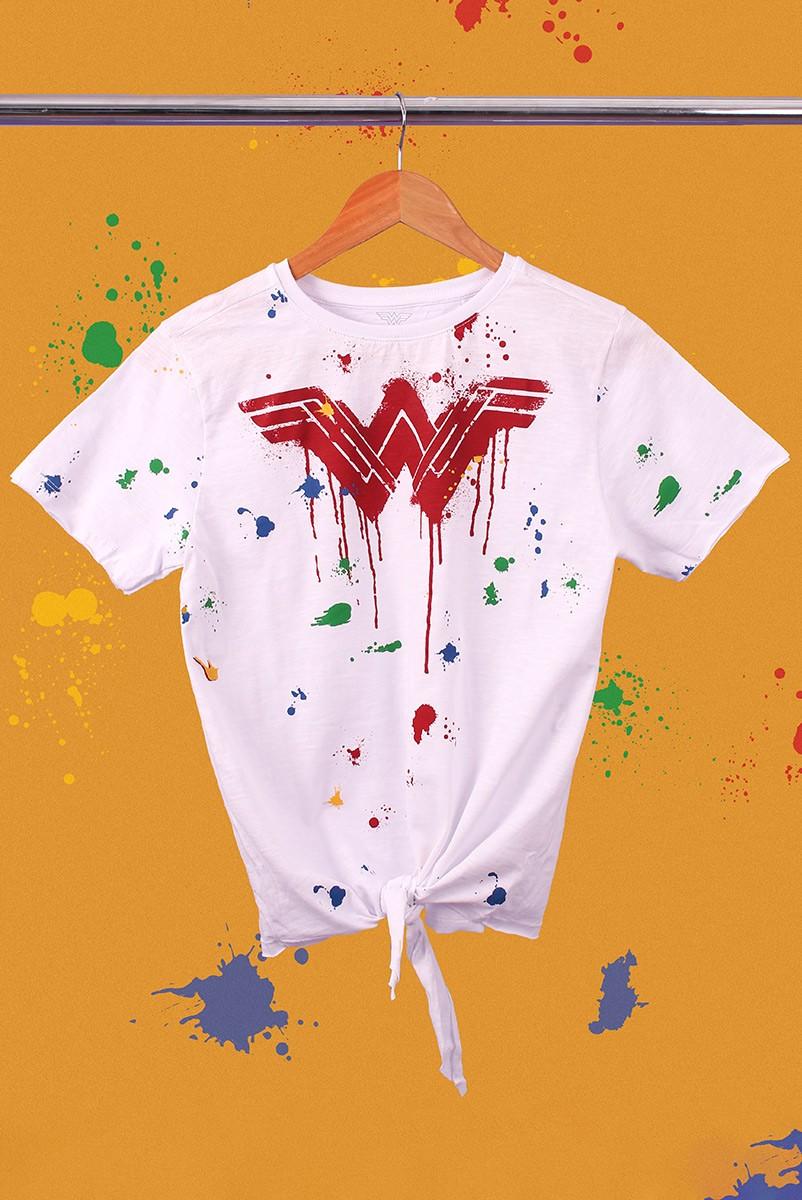 Camiseta Feminina Nozinho Mulher Maravilha Splash