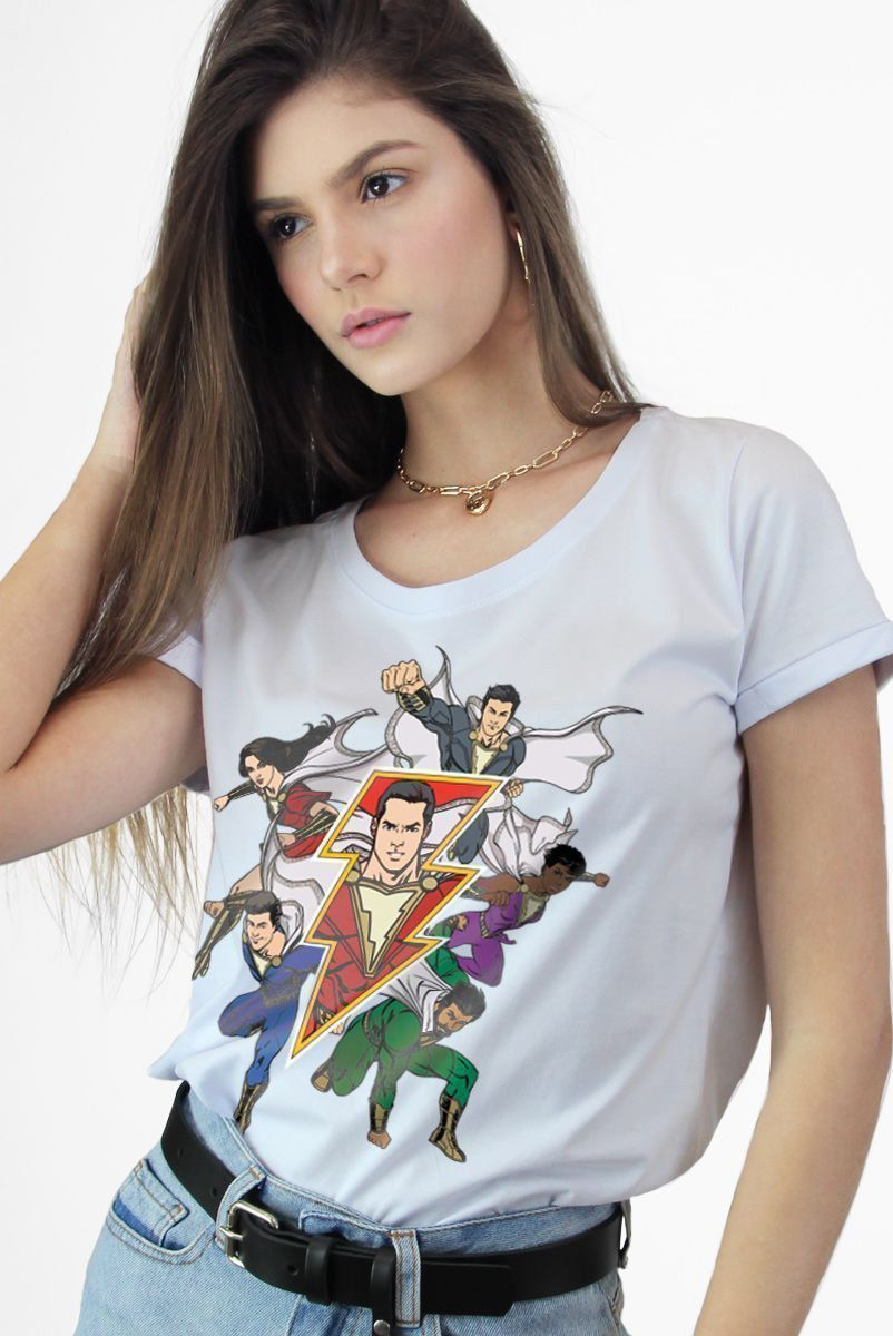 Camiseta Feminina Branca Shazam Família
