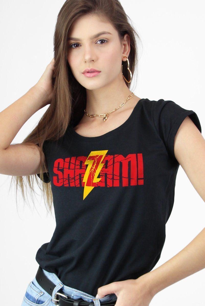 Camiseta Feminina Shazam Logo