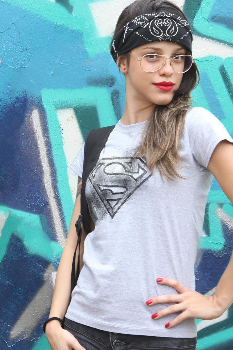 Camiseta Feminina Superman Logo Tracing