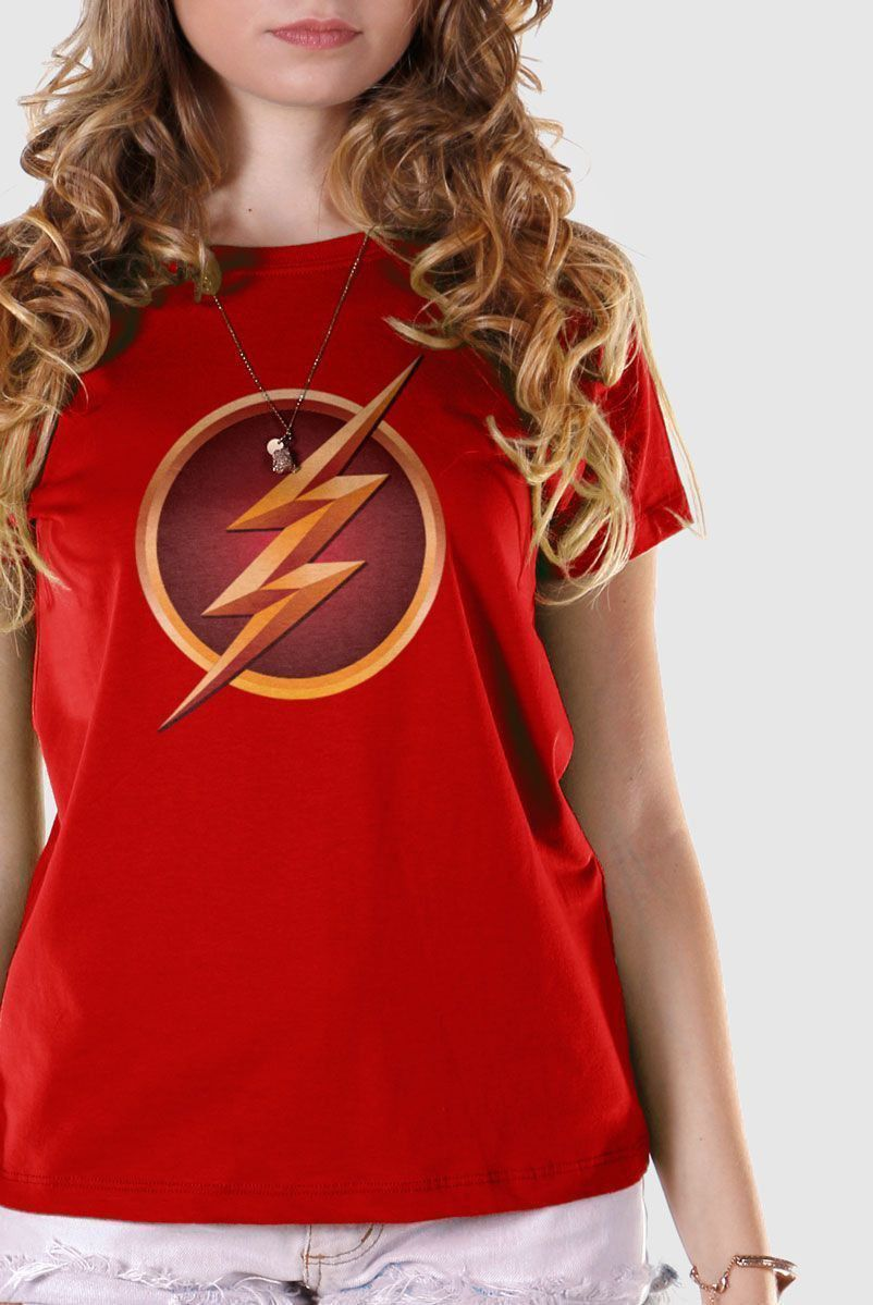 Camiseta Feminina The Flash Serie Logo Gold