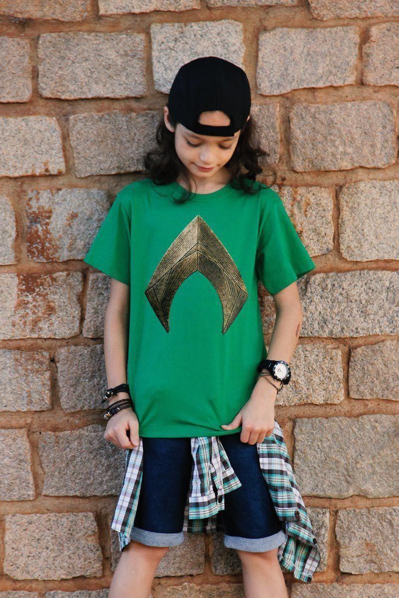 Camiseta Infantil Aquaman Logo Movie