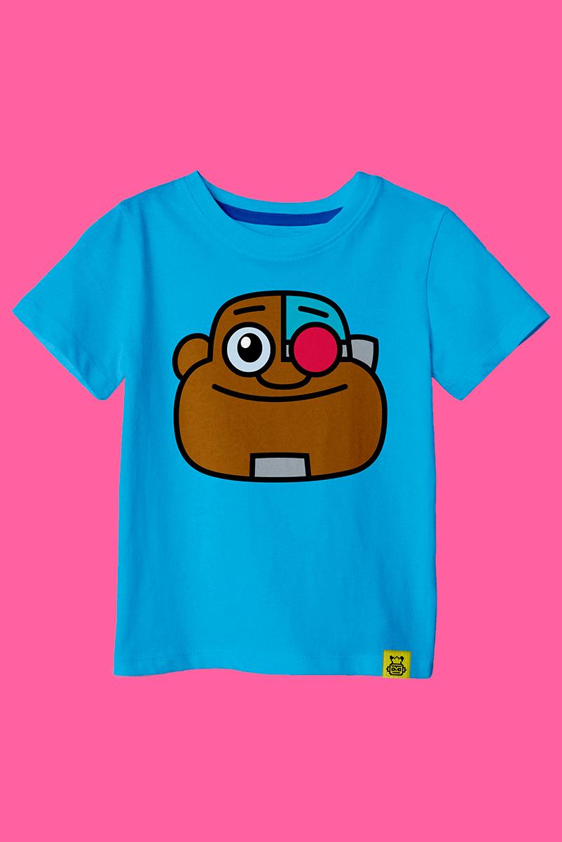 Camiseta Infantil Cyborg Teen Face