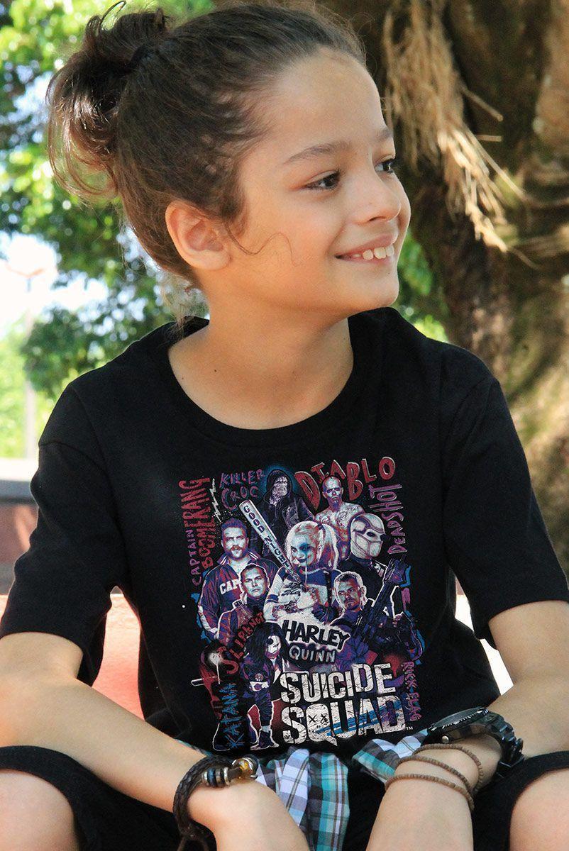 Camiseta Infantil Esquadrão Suicida Cast