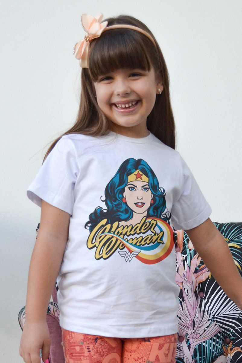 Camiseta Infantil Mulher Maravilha Photo