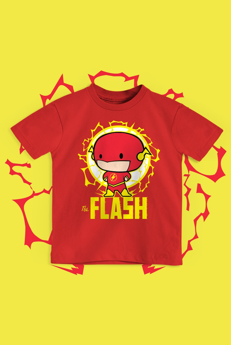 Camiseta Infantil The Flash Chibi