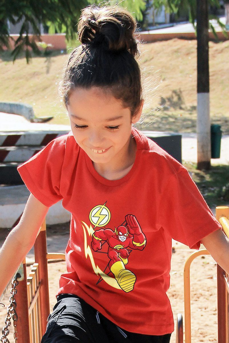 Camiseta Infantil The Flash Em Ação