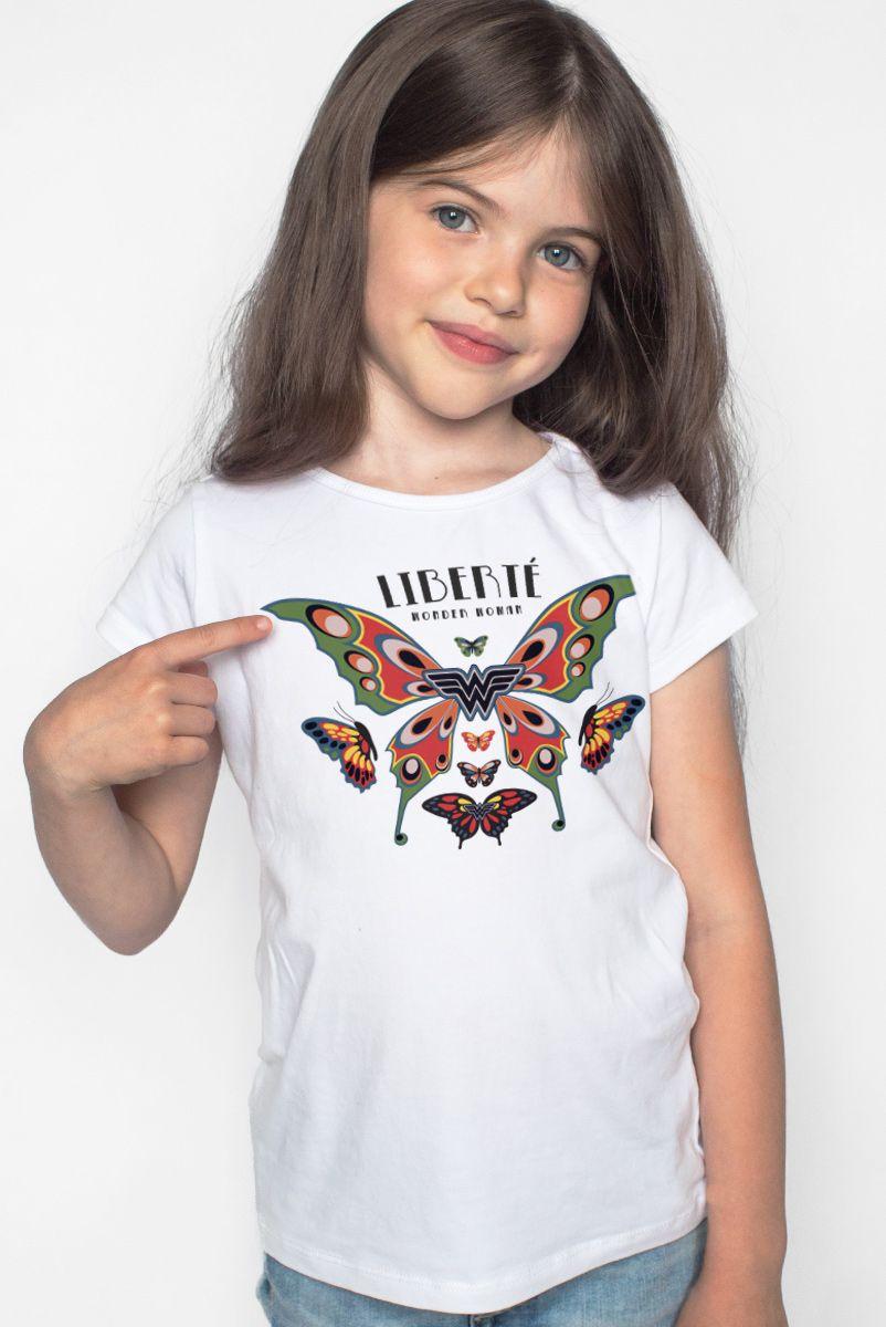 Camiseta Infantil Mulher Maravilha Liberté