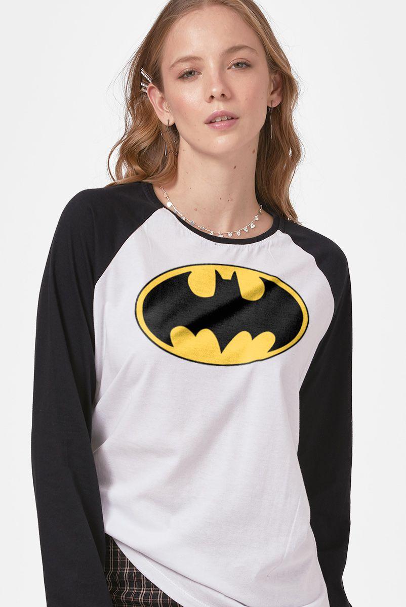 Camiseta Manga Longa Feminina Batman Logo Clássico