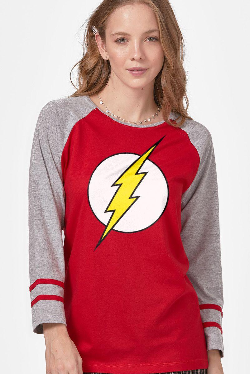 NÃO ATIVAR Camiseta Manga Longa Feminina The Flash Logo