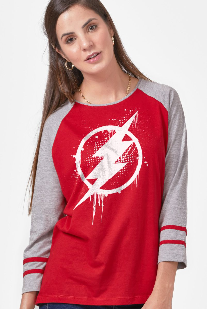 Camiseta Manga Longa Feminina The Flash Logo Spray