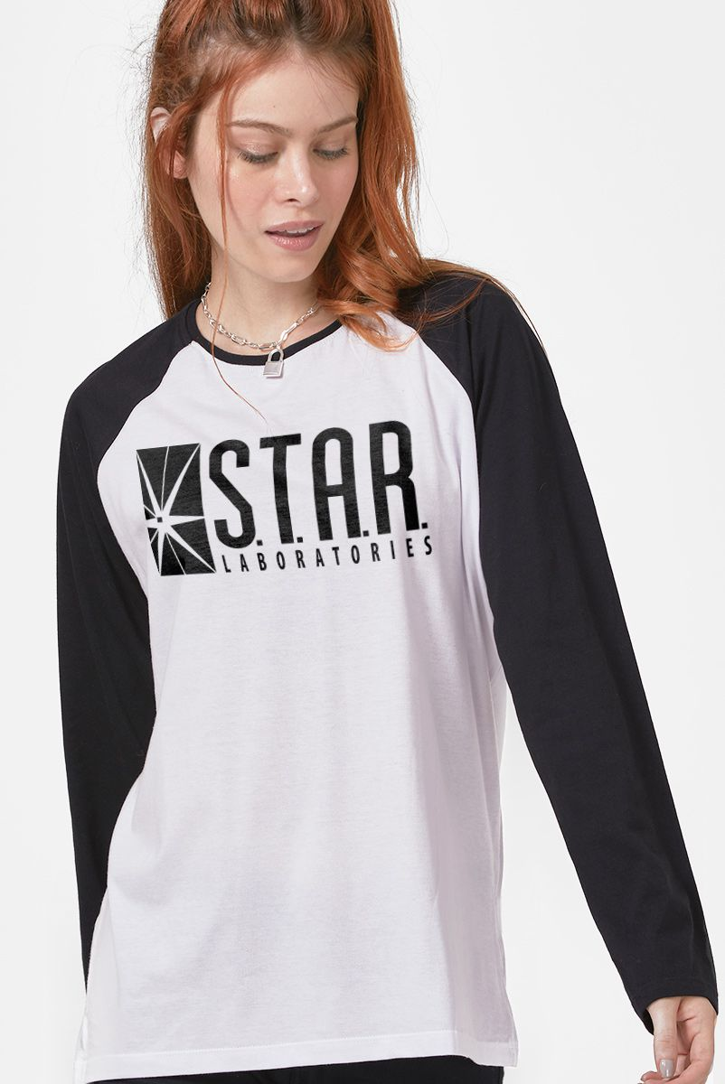 Camiseta Manga Longa Feminina The Flash Série Star Laboratories