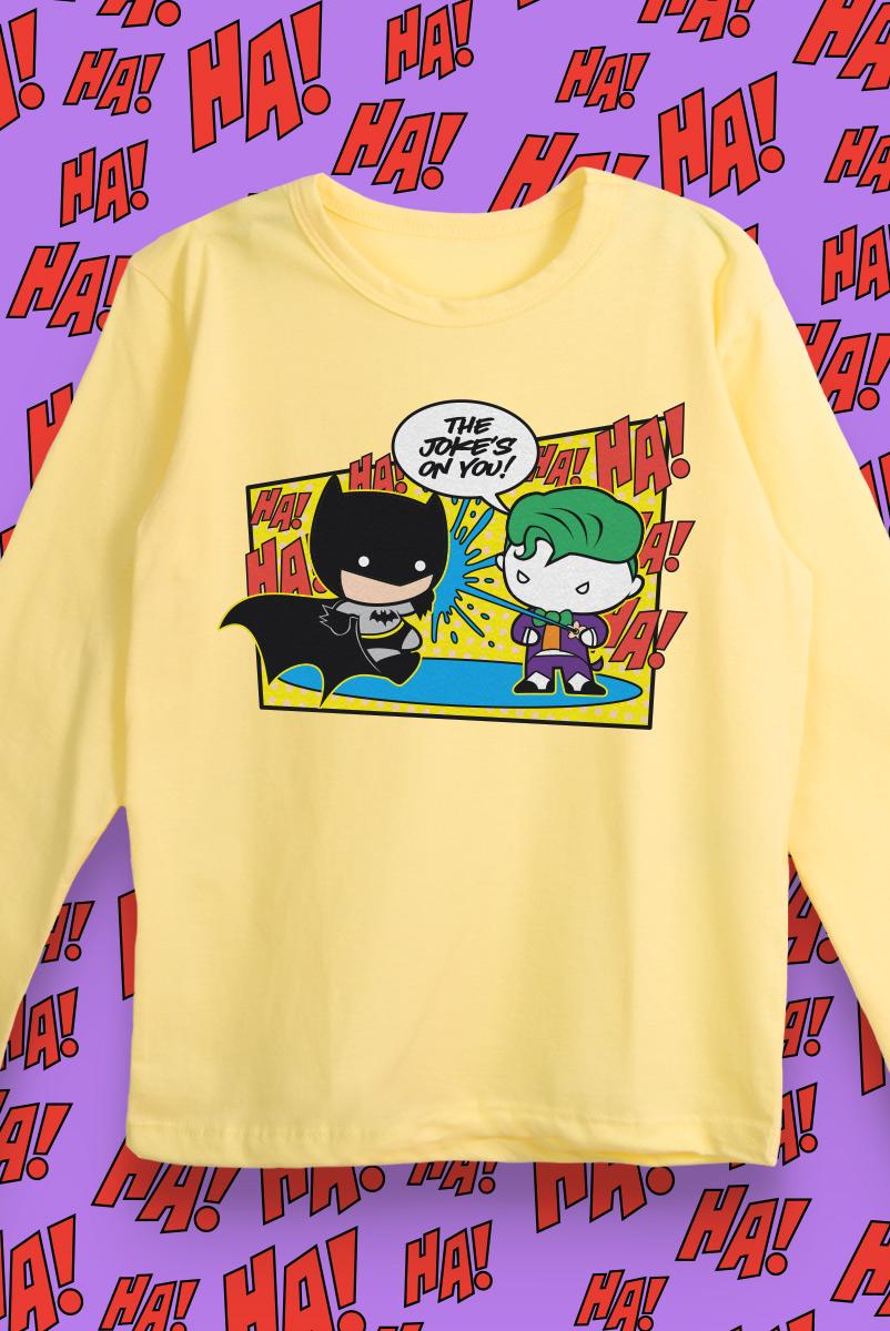 Camiseta Manga Longa Infantil Batman e Coringa