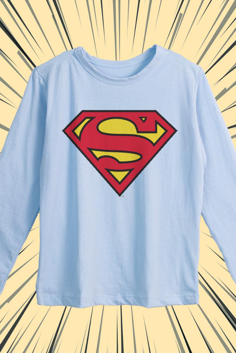 Camiseta Manga Longa Infantil Superman Logo Oficial