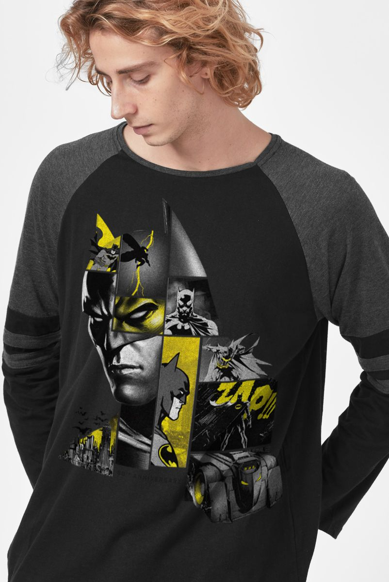 Camiseta Manga Longa Masculina Batman As Faces de Batman