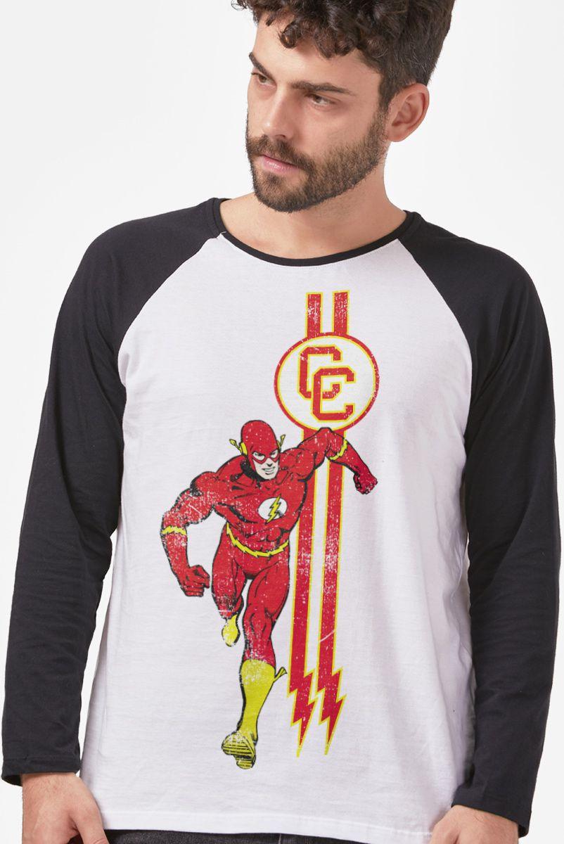Camiseta Manga Longa Masculina The Flash CC