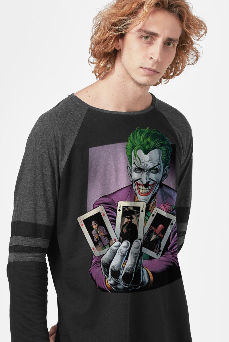 Camiseta Manga Longa Masculina Coringa Mostrando Cartas
