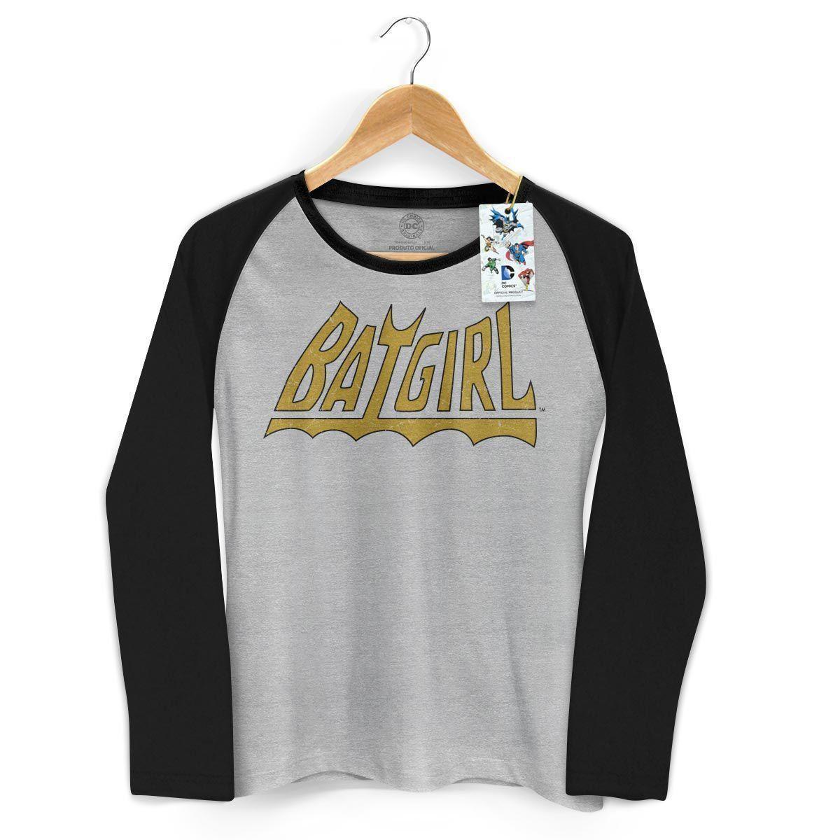 Camiseta Manga Longa Raglan Feminina Power Girls Logo Batgirl
