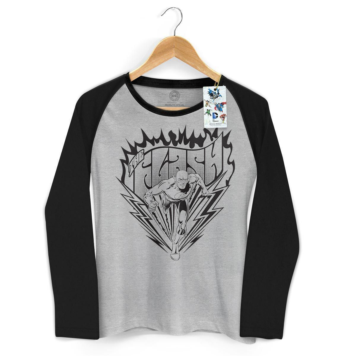 Camiseta Manga Longa Raglan Feminina The Flash P&B