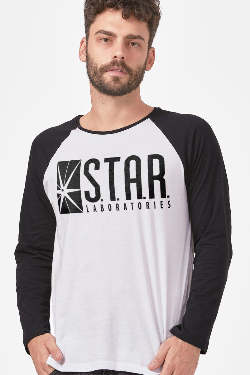 Camiseta Manga Longa Masculina The Flash Serie Star Laboratories