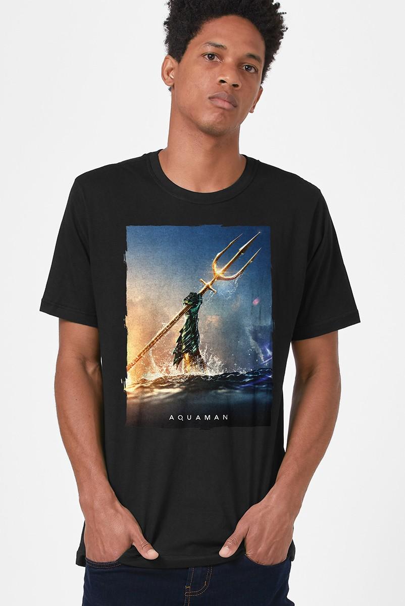 Camiseta Masculina Aquaman Golden Trident