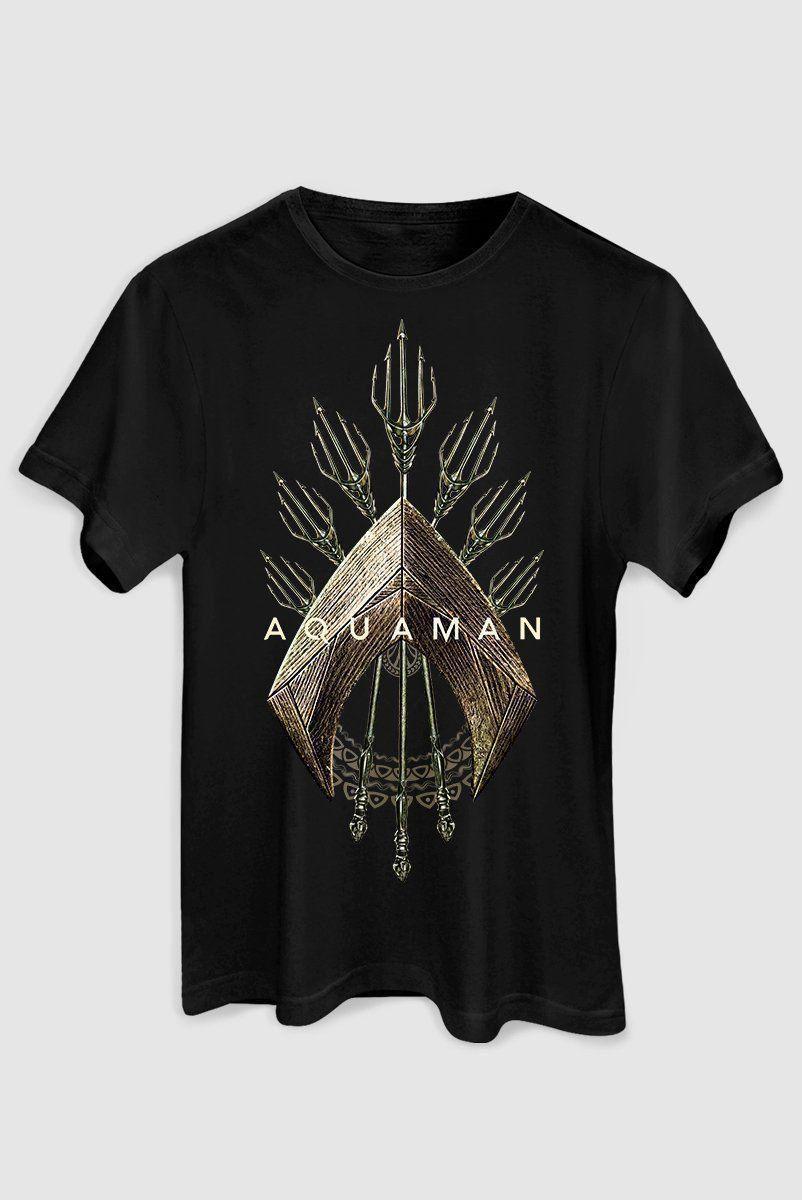 Camiseta Masculina Aquaman Logo Trident