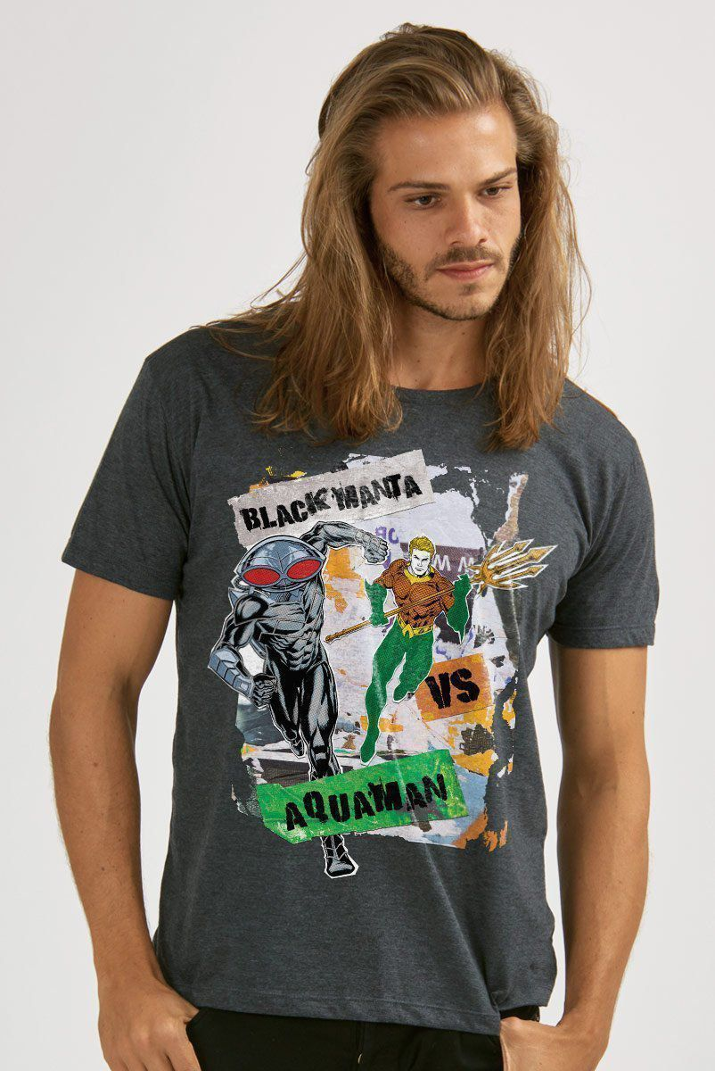 T-shirt Premium Masculina Aquaman VS Black Manta