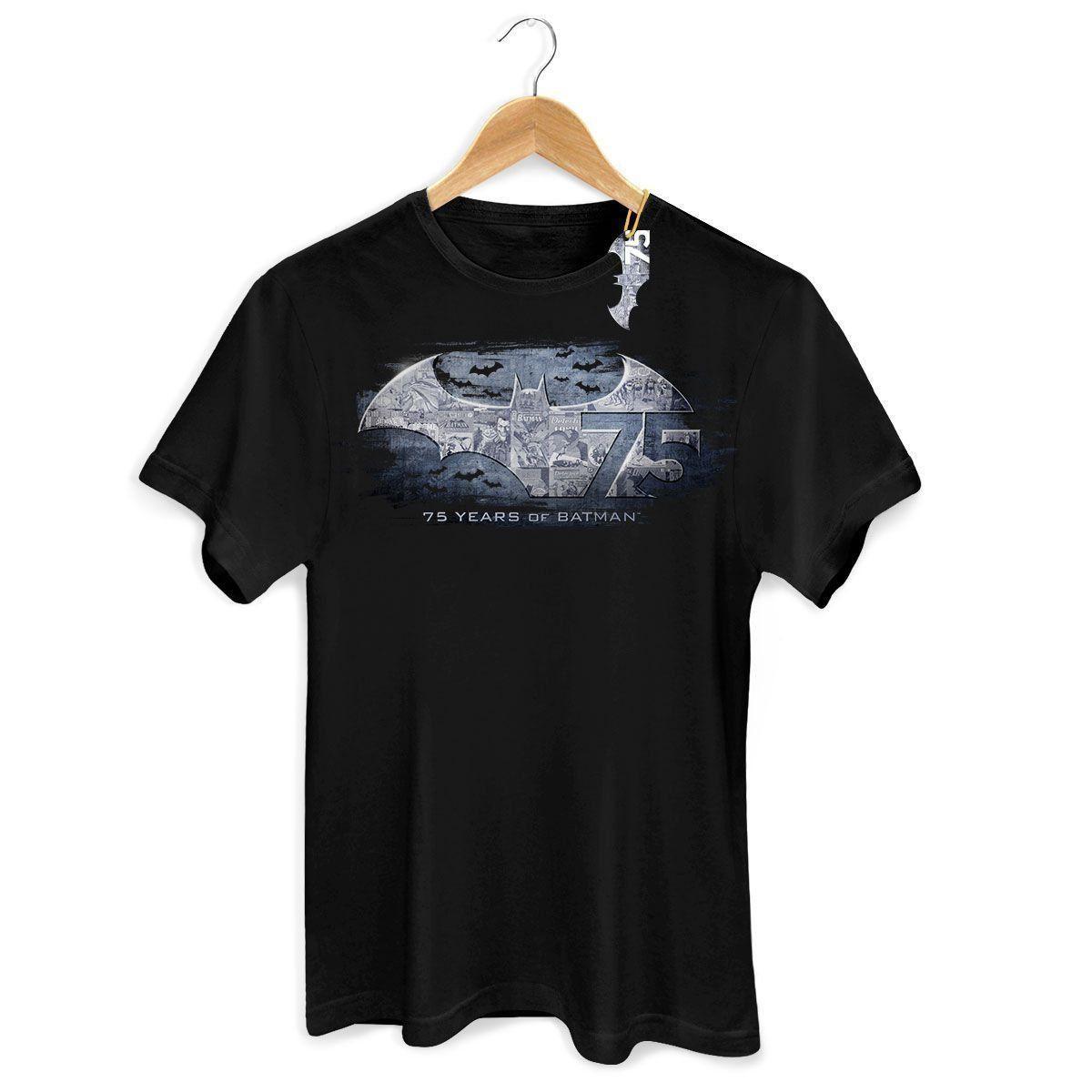 Camiseta Masculina Batman 75 Anos Logo