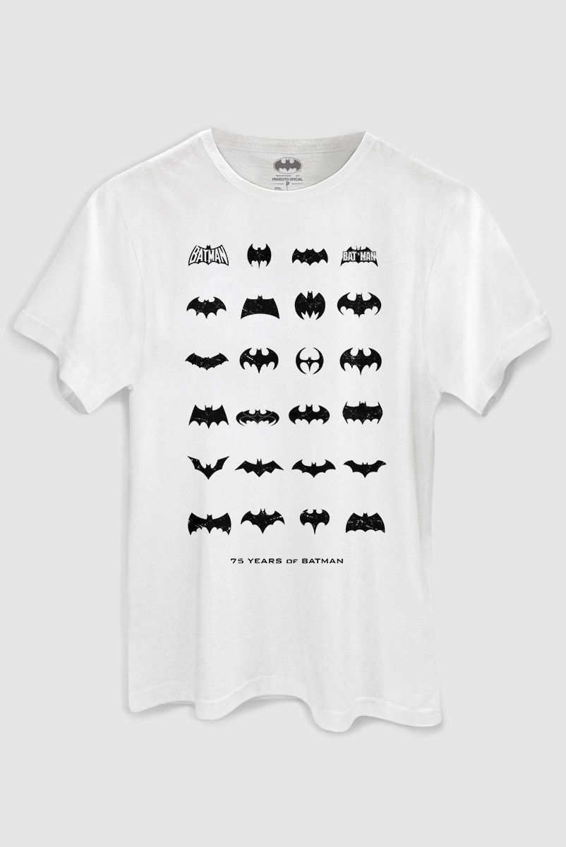 Camiseta Masculina Batman 75 Anos Logo Collection White