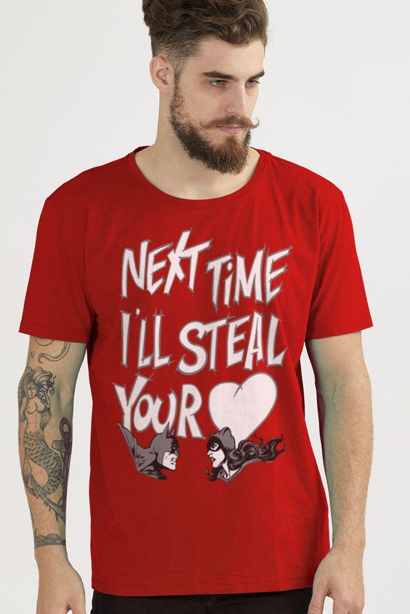 Camiseta Masculina Batman e Catwoman Vou Roubar seu Coração