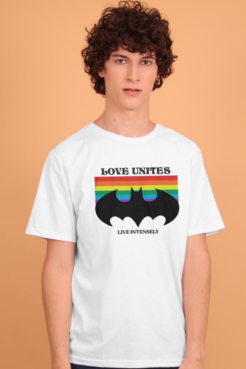 Camiseta Masculina Batman Logo Love Unites