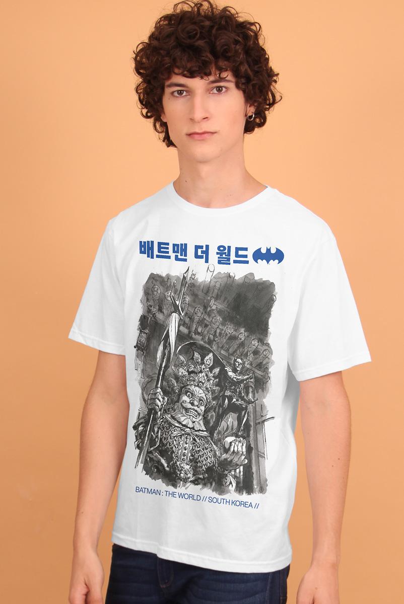 Camiseta Masculina Batman O Mundo Coréia do Sul
