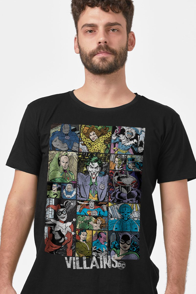 Camiseta Masculina DC Comics Vilões