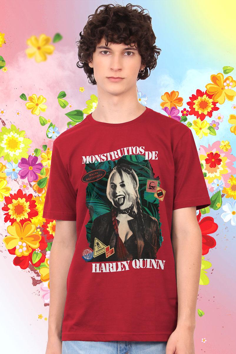 Camiseta Masculina Esquadrão Suicida Monstruitos de Arlequina