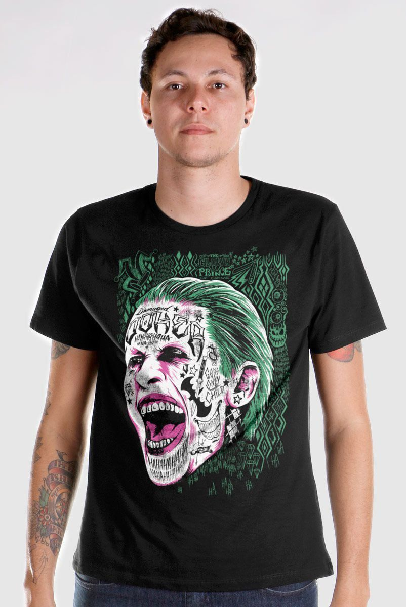 Camiseta Masculina Esquadrão Suicida Coringa Prince of Crime