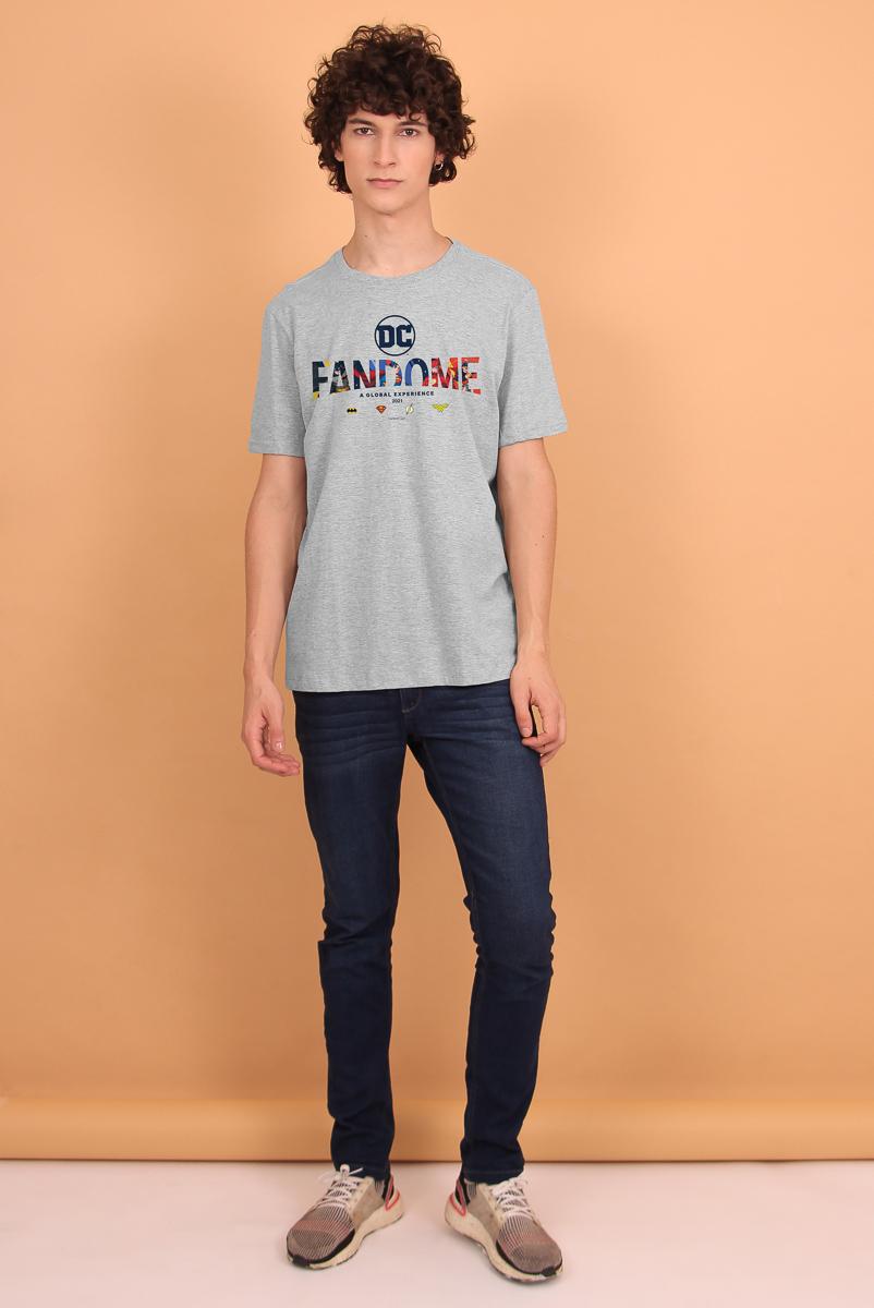 Camiseta Masculina FanDome 2021 Logo Liga da Justiça