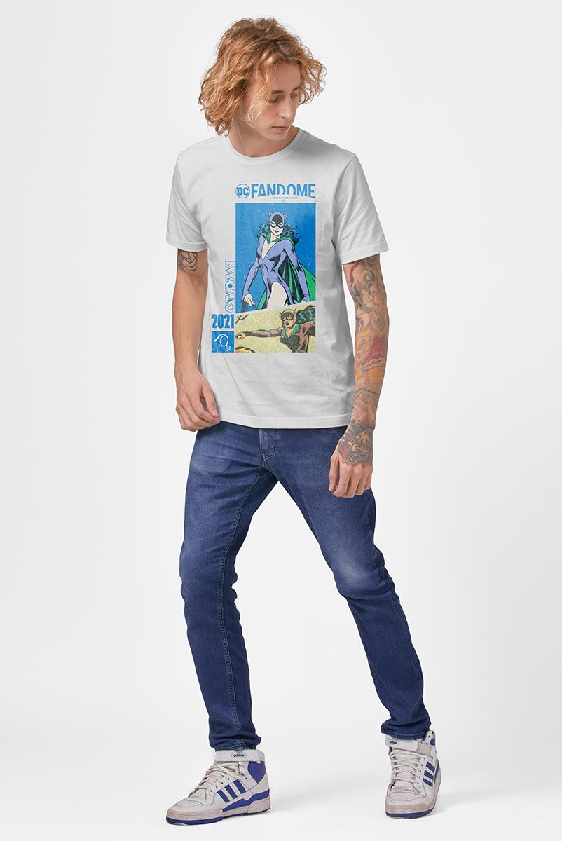 Camiseta Masculina FanDome 2021 Mulher-Gato Em Ação