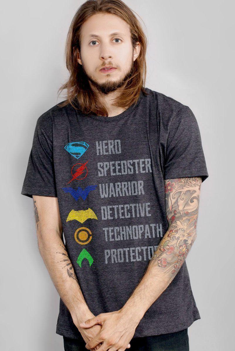 T-Shirt Unissex Liga da Justiça Characteristics