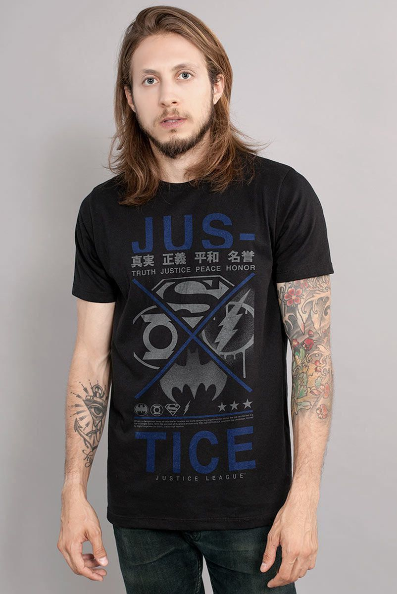 Camiseta Masculina Liga da Justiça Justice Japanese