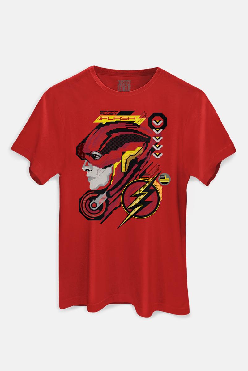 Camiseta Masculina Liga da Justiça Snyder Cut - Flash Face
