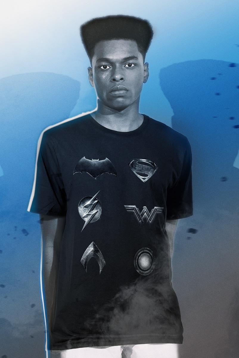 Camiseta Masculina Liga da Justiça Snyder Cut - Logos Herois Liga