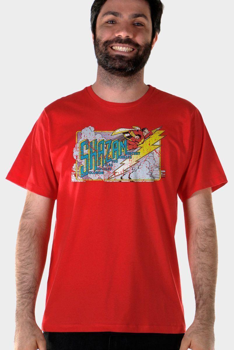 Camiseta Masculina Shazam Em Ação