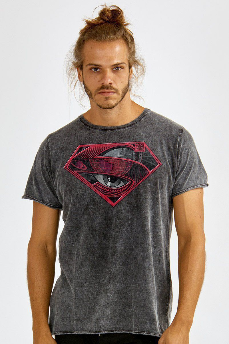 Camiseta Masculina Marmorizada Superman 80 Anos Logo Global