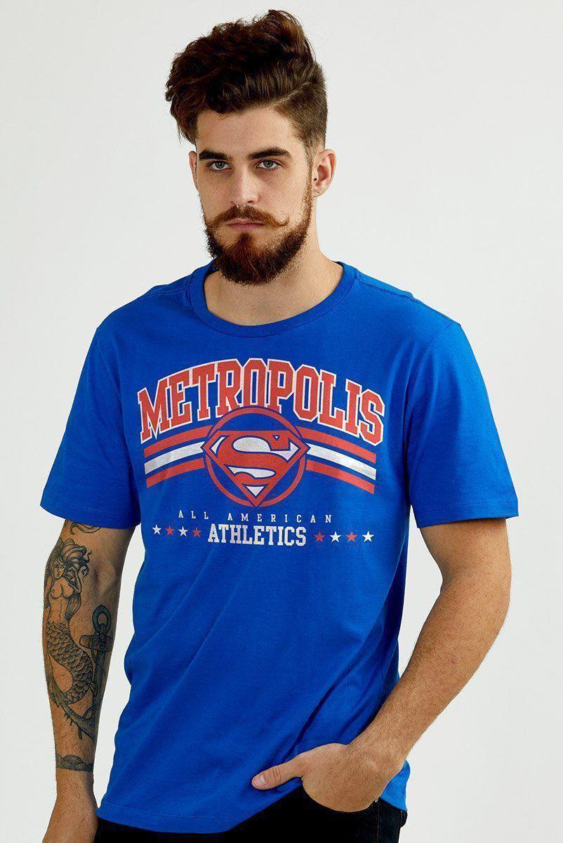 Camiseta Masculina Superman 80 Anos Metrópolis