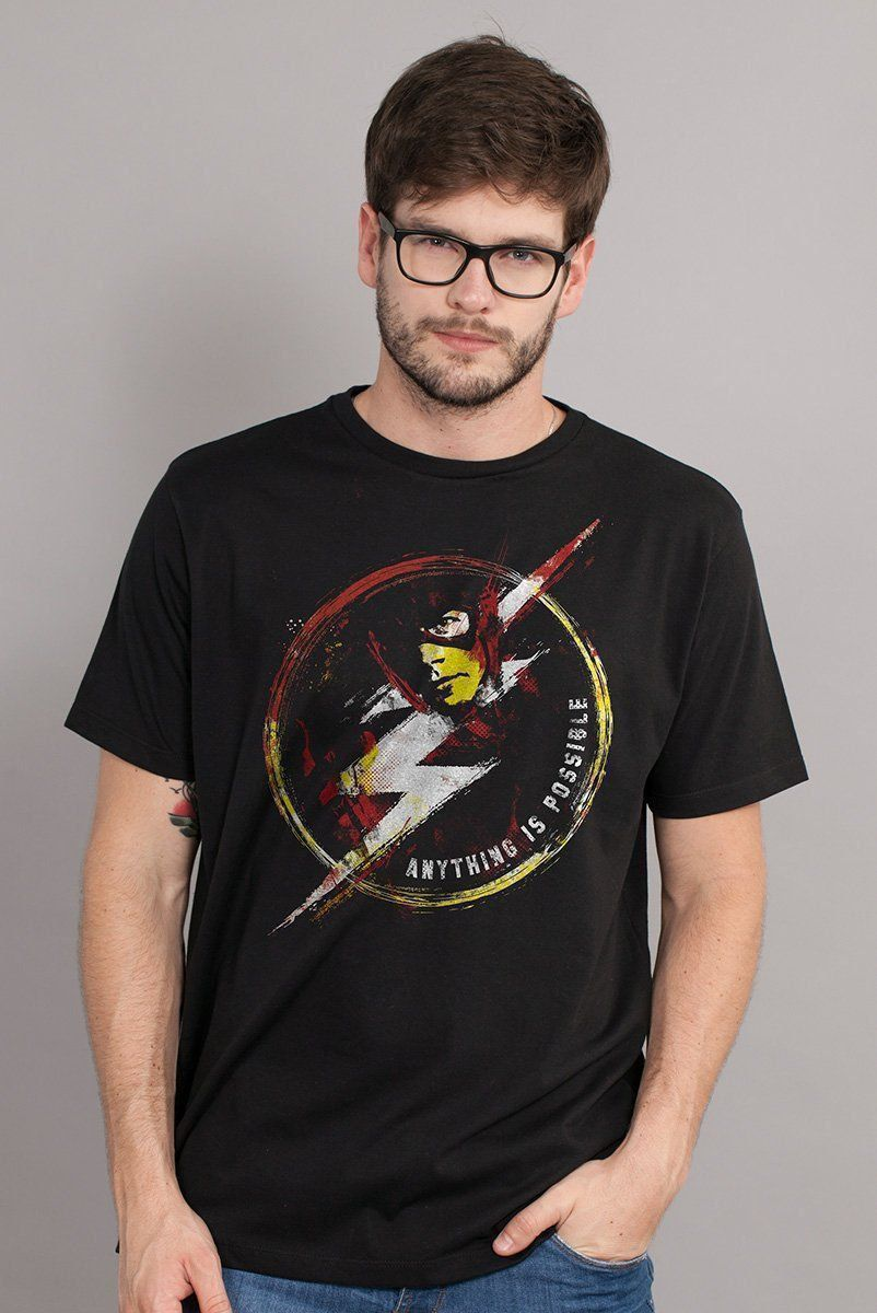 Camiseta Masculina The Flash Anything Is Possible