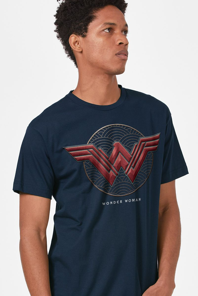 Camiseta Masculina Mulher Maravilha Logo Authentic