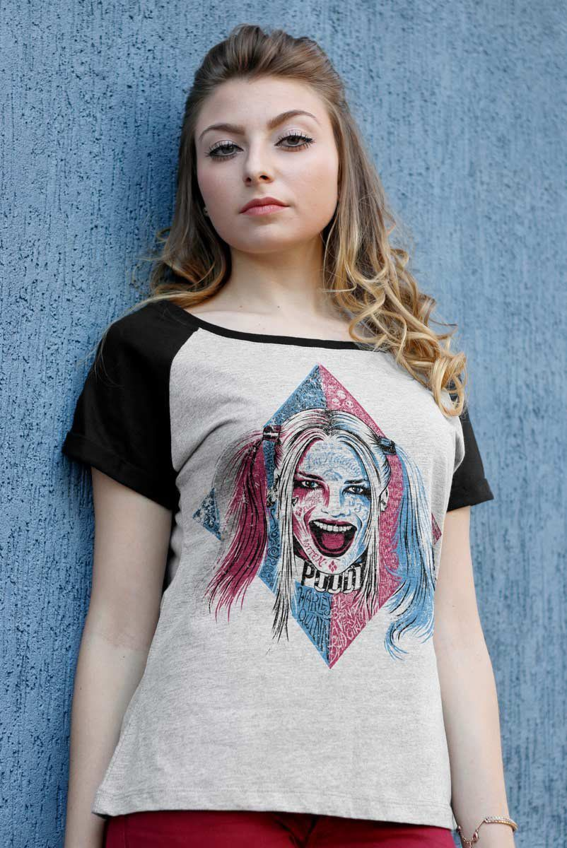 Camiseta Raglan Feminina Esquadrão Suicida Harley Quinn Puddin