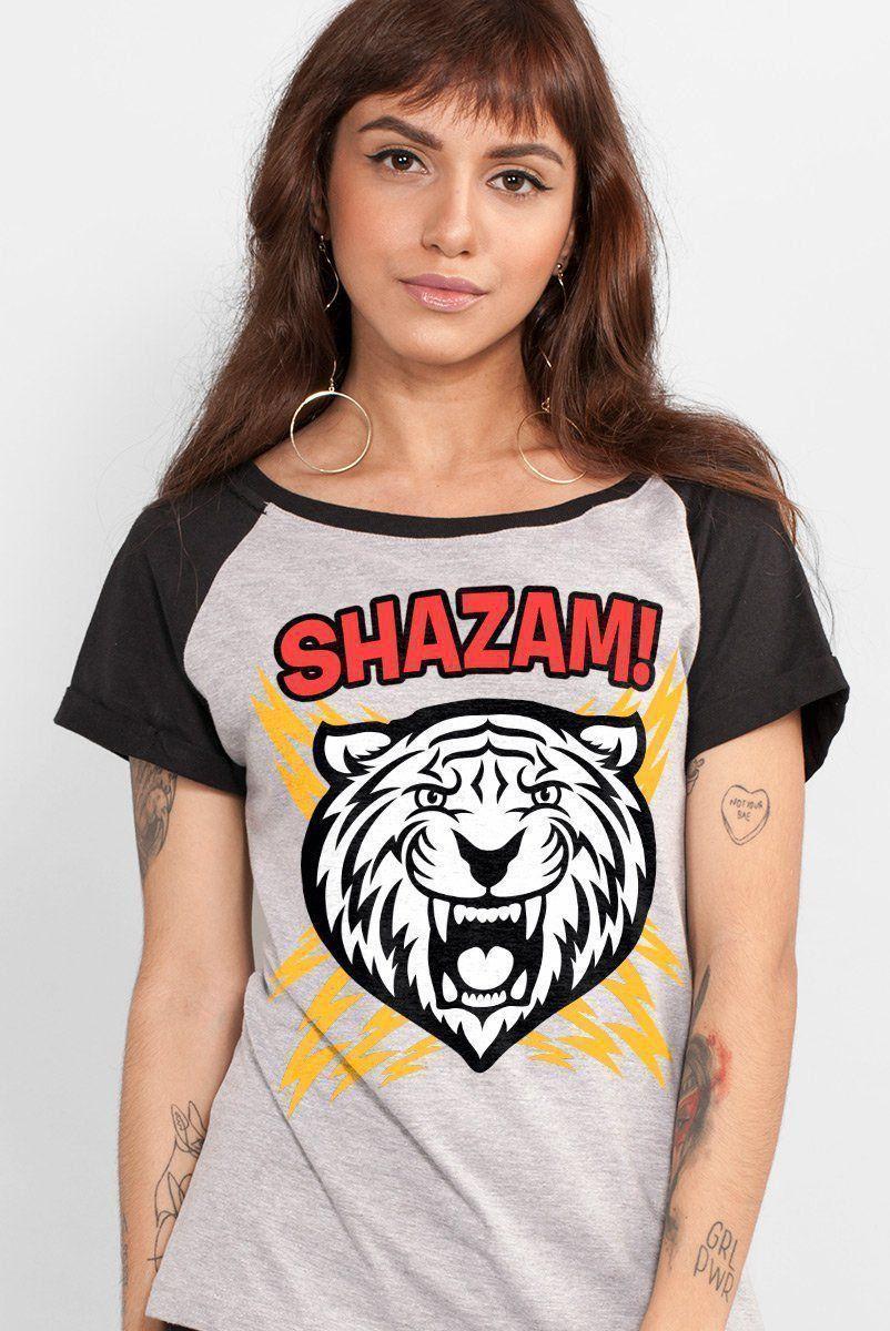 Camiseta Raglan Feminina Shazam Tiger